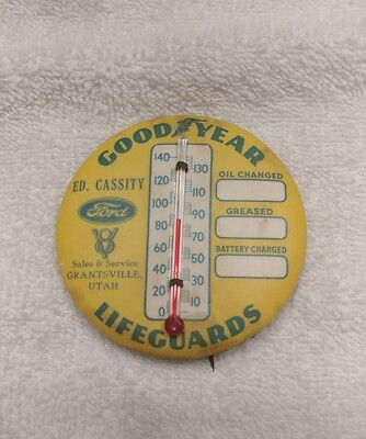 RARE Original 1930s Goodyear Tires Ford V8 Button Pin Thermometer Sign Lifegurds