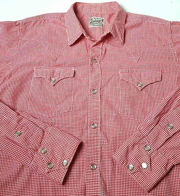 VTG Rockmount Ranchwear Small Custom Fitted Pearl Snap Western Shirt Red Check