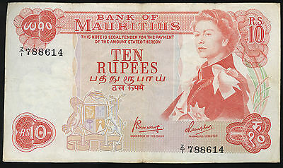 Mauritius QEII 1967 (ND) 10 Rupees REPLACEMENT P-31c.  F.  Z/1 788614  RARE!!!