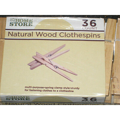 36 COUNT NATURAL WOOD CLOTHESPINS wooden clothes pins laundry arts crafts