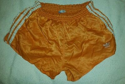 ADIDAS vintage shorts satin shiny west germany glanz Ibiza football D7 ORANGE
