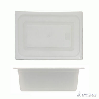 12x Food Pan with Clear Lid 1/2 GN 200mm Half Size Polypropylene Gastronorm