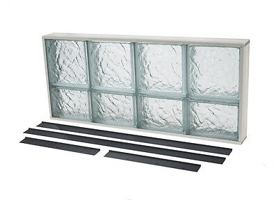 Ice Pattern Solid Glass Block Window Nailing Flange Sealing 31.5 in. x 13.75 in.