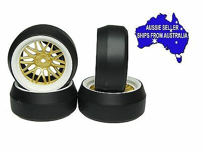 Yeah Racing drift wheels & tires to fit 1:10 RC cars +6 Gold/White