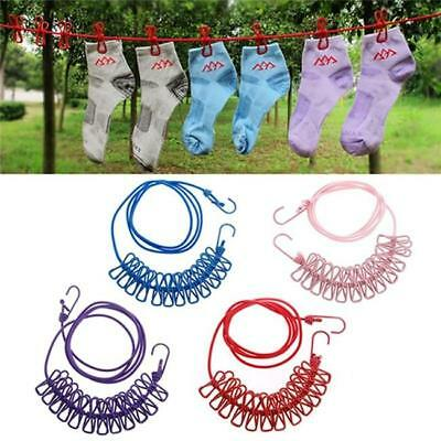 Portable Travel Camping Clothesline Washing Clothes Line Rope with 12 Clips Peg