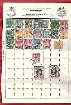 Federated  Malay States  Used Stamps  On Page