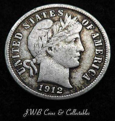 1912 USA Silver Barber Dime Coin