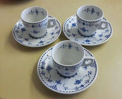 Furnival  Denmark Coffee  Cups And Saucer X 3