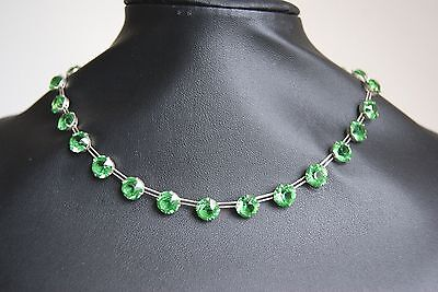 Fine Vintage Art Deco Silver & Demantoid Garnet Paste Riviere Choker  Necklace