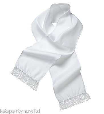 White Satin Gangster Scarf  Mafia Bugsy Capone Carnival Fancy Dress Accessory