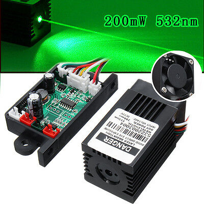 12VHigh Power 532nm Green Laser Engraving Carving Module w/ TTL Driver Focusable