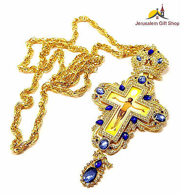 Gold Plated Necklace Pectoral Cross Priest Bishops Christian Crucifix Jerusalem