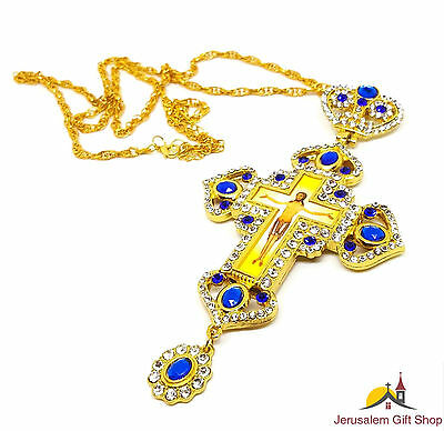 Gold Plated Necklace Pectoral Cross Priest Bishop Christian Crucifix Jerusalem