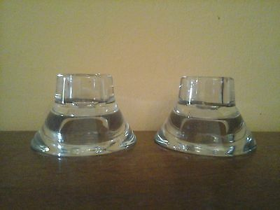 Vintage short glass candlesticks
