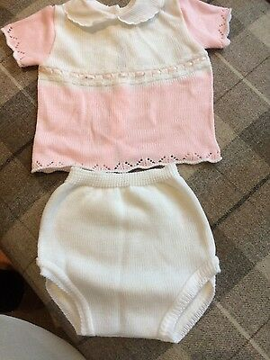 baby girl spanish pex knitted two piece age 9-12mnths
