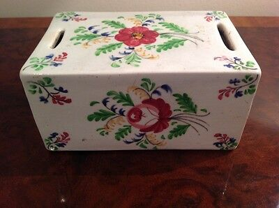 antique creamware flower brick