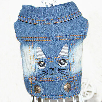 Small Pet Dog Denim Vest Clothes Puppy Jean Jecket Coat Cat Style Costume M