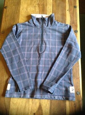 "Girls Equestrian Joules Dark Blue Check Sweatshirt Size XS (36"" Chest)"