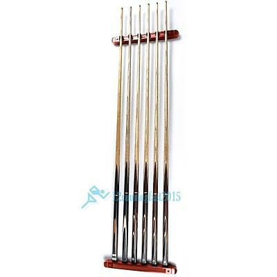 Billiard Pool Wall Mount Hanging 6 Cue Sticks Rack Holder Oraganizer for Snooker