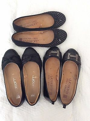 3 x RIVERS LEATHER LINED BLACK BALLET FLATS SIZE 41
