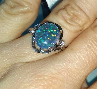 Australian Triplet  Opal Ring Sterling Silver with 9K Gold size M