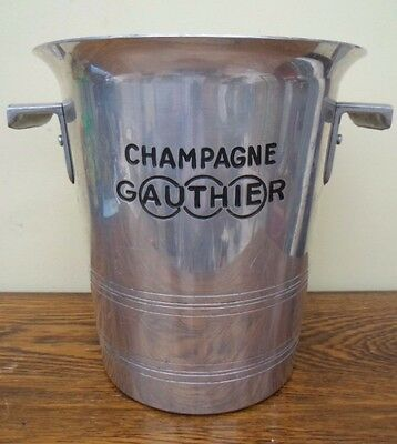 Vintage French metal Gauthier champagne ice bucket cooler, 2 handles