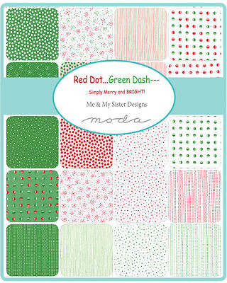 Patchwork/quilting Fabric Moda - Red Dot Green Dash - Charm Pack - Christmas