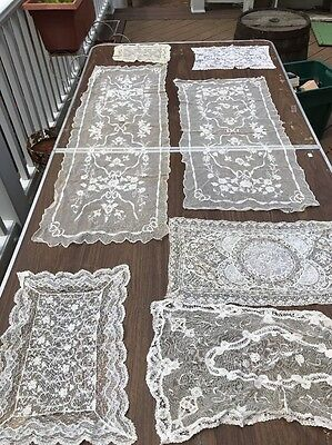 Antique net lace tambour Normandy doily Victorian lace Dresser Scarf Set Of 7