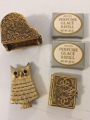 Lot of 3 Vintage Avon Perfume Glace Holders Piano Brooch Book +Refill