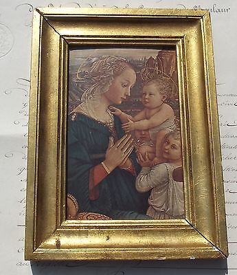 Vintage French Religious Print Gilt Wooden Frame  Madonna and Child
