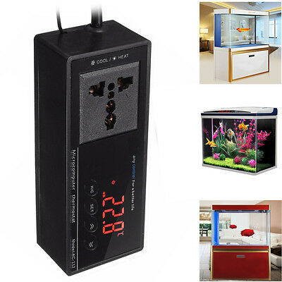 LED Digital Reptil Hitze Inkubator Thermostat Aquarium Temperaturregler Sockel