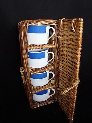 4 Picnic Cups In Cane Basket
