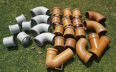 Underground soil pipe job lot of drainage pushfit fittings - terracotta / grey