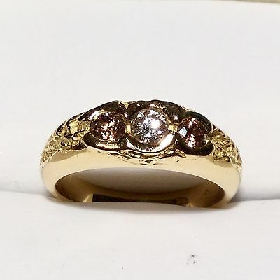 18ct Stamped 750 Yellow Gold Three Diamond (white & Champagne) Ring Size L