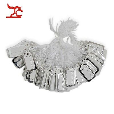 200 pcs Jewelry Display Tags Silver Paper Lable with String Hang Store Supply