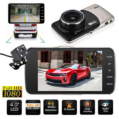 "4"" HD 1080P Car DVR Video Recorder Rearview Dash Cam G-sensor DUal Lens Camera"