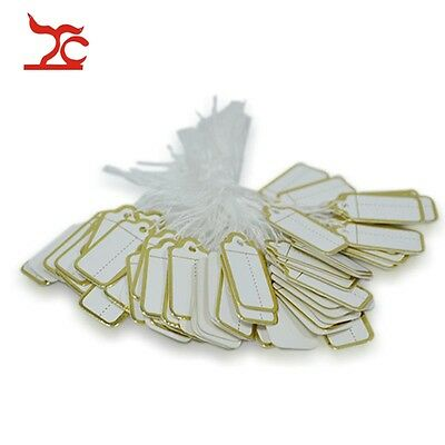 100pcs Jewelry Display Store Supply Tool White Paper withe Gold Line Price Tag