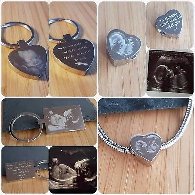 Scan Photo gift or 3D Scan, Personalised engraved heart keyring or Charm,