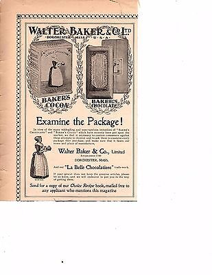 1900 Walter Baker & Co.'s cocoa and chocolates Ad examine the package