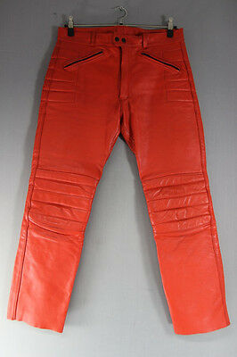 British Made Scott Leathers Red Cowhide Biker Trousers: Waist 36/inside Leg 30In