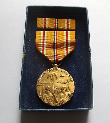 Ww2 Us Asiatic - Pacific Campaign Medal + Ribbon Bar / Original Box Of Issue