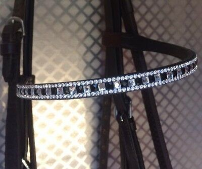 NEW Shires Aviemore Fine Diamonte Leather Browband - Bridle Parts - Havana/Black