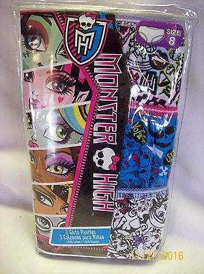 3 Monster High Girls Cotton Panties  -  Size 8