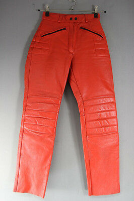 British Made Scott Leathers Red Cowhide Biker Trsrs Size 12: Waist 26/i. Leg 29""