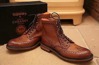 Cheaney with Superdry Men's Tan Grained Leather Brogues Boots Shoes UK 8