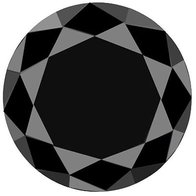 1.87 Ct   Loose Black Diamond Round Brilliant Cut 7.75mm Moissanite (see video)