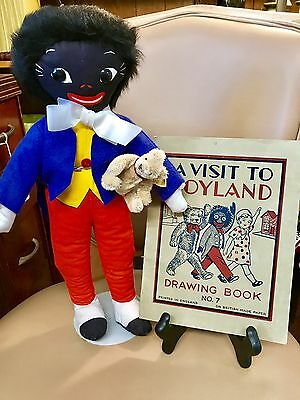 """Vintage Dean's Childplay Golli With His 3"""" Steiff Mohair Bear And Antique Book"""