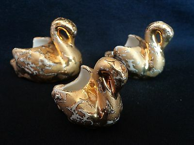 (3) Vintage Weeping Gold 22 Kt Swan Figurines...(3) Sizes!