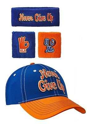 WWE: John Cena 'Never Give Up' Cap & Sweatbands Bundle - Official Store