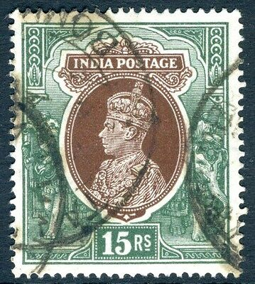 INDIA-1937-40 15r Brown & Green Sg 263 GOOD USED  V16915